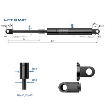 084840 Stabilus Molla a gas Lift-O-Mat 10x22 pneumatico