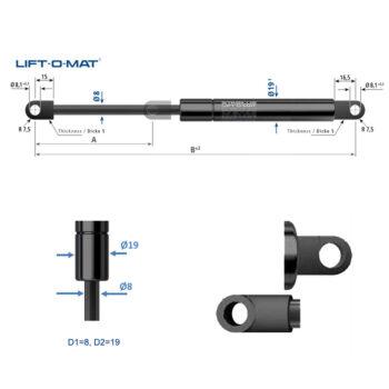 Molla a gas Stabilus LIFT-O-MAT 8x19