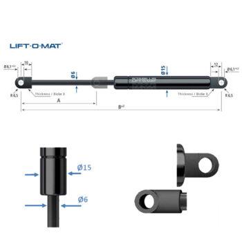 082538 Stabilus Molla a gas Lift-O-Mat 6x15 pneumatico