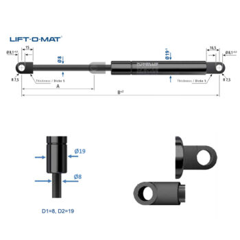 084565 Stabilus Molla a gas Lift-O-Mat 8x19 pneumatico